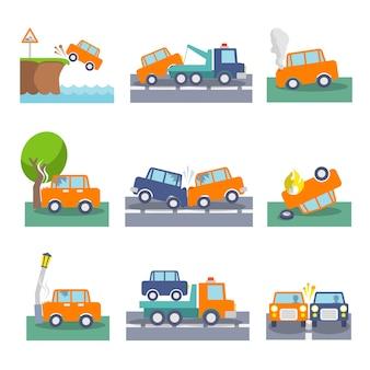 Gekleurde auto ongeluk ongelukken en rijden veiligheid pictogrammen instellen geïsoleerde vector illustratie