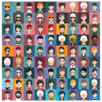 Gekleurde avatars collectie