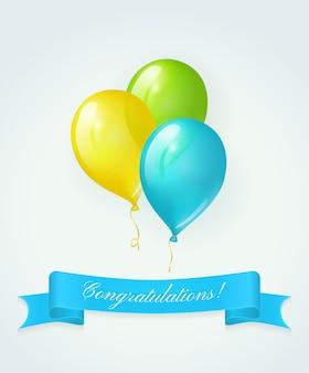 Gekleurde ballonnen en blauwe banner met tekst gefeliciteerd. vector wenskaart