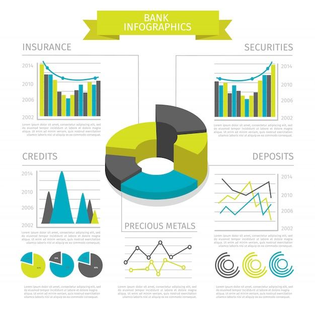 Gekleurde bank infographic