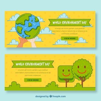 Gekleurde banners voor de dag wereld milieu