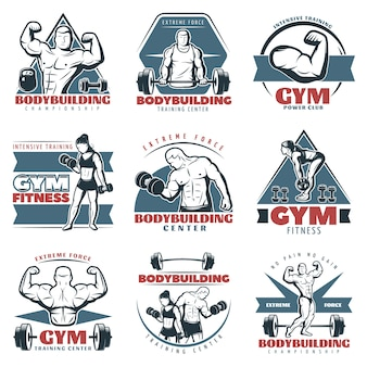 Gekleurde body building logo set