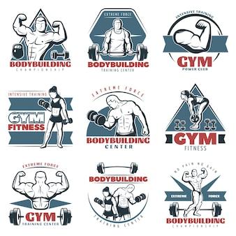 Gekleurde body building logo set
