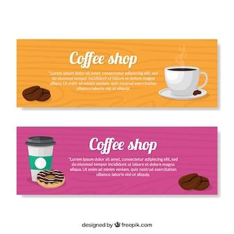 Gekleurde cafe banners