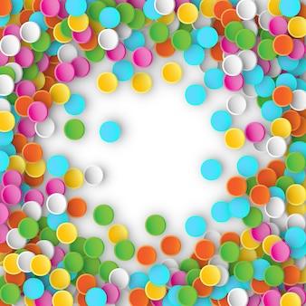 Gekleurde carnaval confetti vliegen op witte achtergrond. 3d illustratie voor vieren, jubileumfeest en verjaardagsontwerp