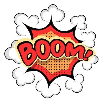 Gekleurde cartoon explosie boom! cartoon explosie op wit