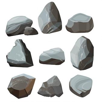 Gekleurde cartoon stenen. graniet grote en kleine rotsachtige grind en keien gekleurde afbeeldingen