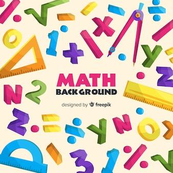 Gekleurde cartoon wiskunde achtergrond met letters en cijfers