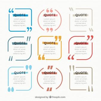 Gekleurde citaat frame collectie