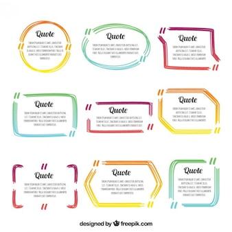 Gekleurde citaat frames-collectie