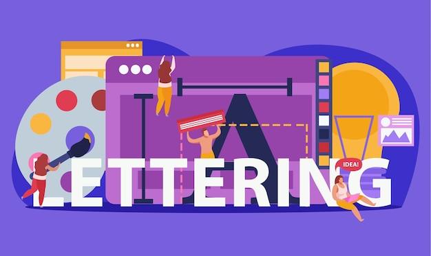 Gekleurde compositie met grote woordbelettering en abstracte hulpmiddelen voor creatie
