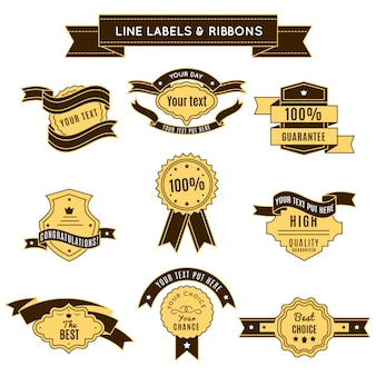 Gekleurde conceptuele badges met linten op premium kwaliteit en 100 procent garantiethema's