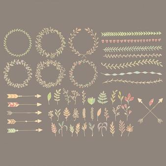 Gekleurde decoratieve elementen collectie