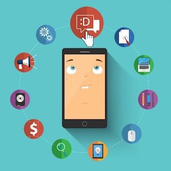 Gekleurde digitale marketing icons