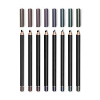 Gekleurde donkerbruine vineuse blauwgroene violette paarse cosmetische make-up eyelinerpotloden