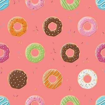 Gekleurde donuts patroon ontwerp