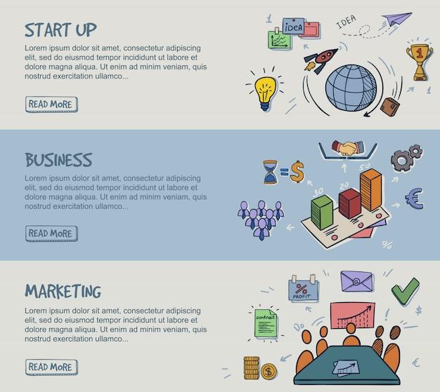 Gekleurde doodle infographic horizontale banners