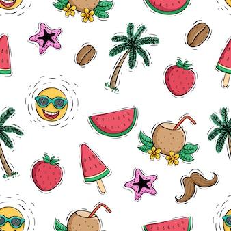 Gekleurde doodle stijl van zomer pictogrammen in naadloze patroon