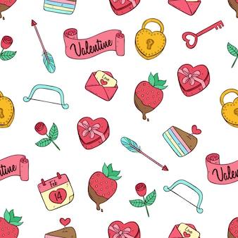 Gekleurde doodle valentijn pictogrammen in naadloos patroon