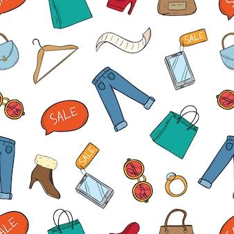 Gekleurde doodle van winkelen tijd elementen in naadloze patroon