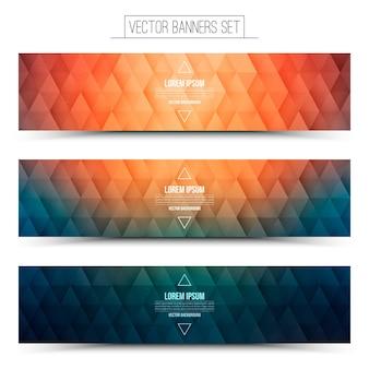Gekleurde driehoekige structuur oranje blauwe banners ingesteld op een witte achtergrond