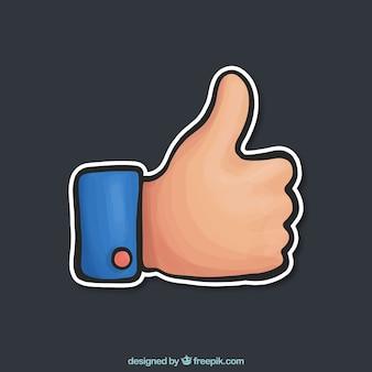 Gekleurde duim omhoog in de hand getekende stijl