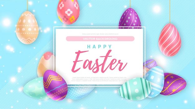 Gekleurde eieren dichtbij banner met het gelukkige pasen-schrijven