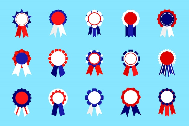 Gekleurde embleem awards set met lint