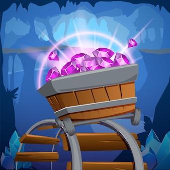 Gekleurde en cartoon mijnbouw game design samenstelling houten wagen met edelstenen erin