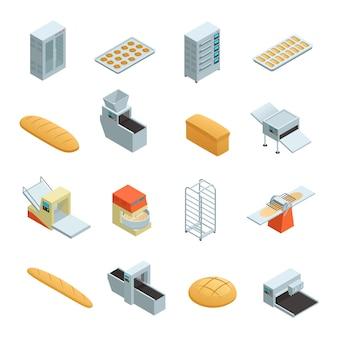 Gekleurde en geïsoleerde bakkerij fabriek isometrische pictogrammenset met elementen en hulpmiddelen voor het bakken van brood vect