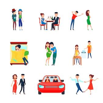 Gekleurde en geïsoleerde echtgenoten echtgenoot verantwoordelijkheden pictogrammenset met verliefde paar is verantwoordelijk