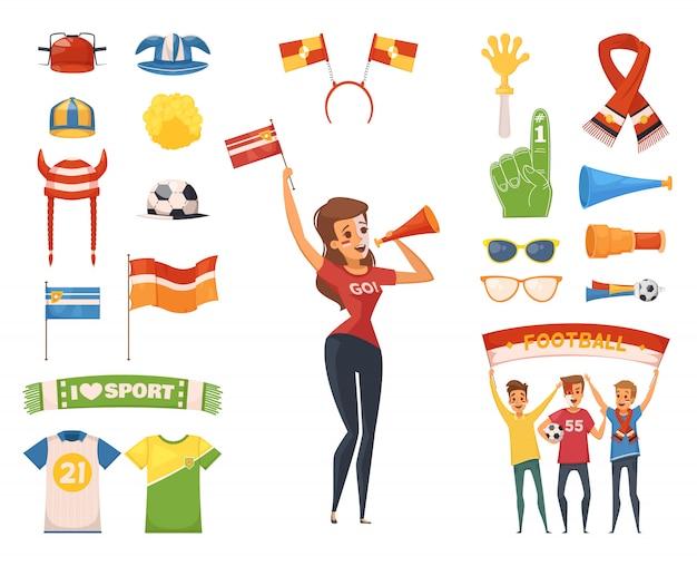 Gekleurde en geïsoleerde fan rooter buff icon set vrouwelijk karakter accessoires en apparatuur