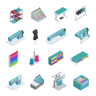 Gekleurde en geïsoleerde kleding fabriek isometrische icon set machines naaimachines kledingstuk manufacturi