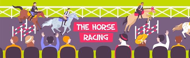 Gekleurde en horizontale paardenraces paardensport illustratie Gratis Vector