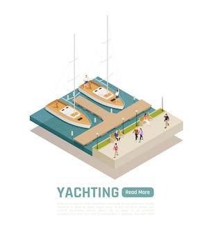 Gekleurde en isometrische yachting-compositie met twee boten afgemeerd aan de kade