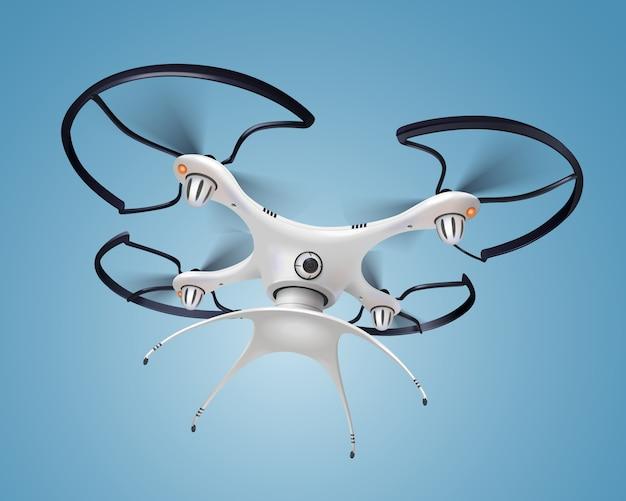 Gekleurde en realistische drone met het witte slimme elektronische quadrocopter vliegen van de camerasamenstelling