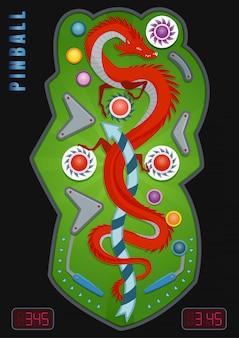 Gekleurde en realistische flipperkastsamenstelling met beschrijving van de flitsslag en de draak