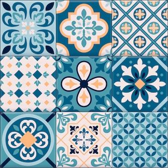 Gekleurde en realistische keramische vloertegels ornamenten icon set voor het maken van een ander patroon
