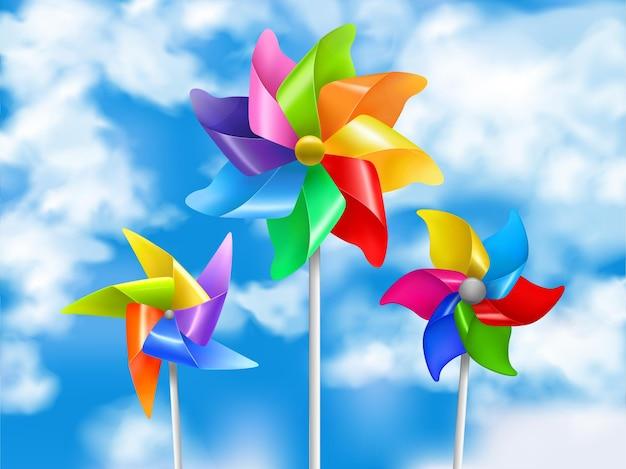 Gekleurde en realistische windmolen speelgoed hemel illustratie