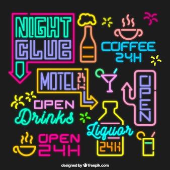 Gekleurde fantastische set van neonlampen tekenen