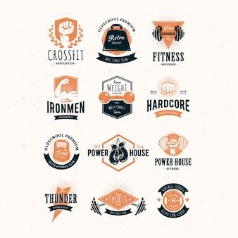 Gekleurde fitness logo collectie