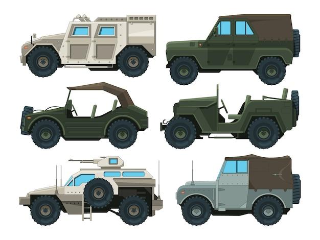 Gekleurde foto's van militaire zware voertuigen