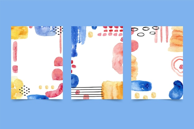 Gekleurde frame abstracte aquarel voorbladsjabloon