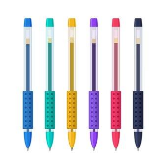 Gekleurde gelpennen in transparante kunststof etuis met rubberen gripset. schrijven van school- en kantoortools collectie. platte vectorillustratie geïsoleerd op een witte achtergrond