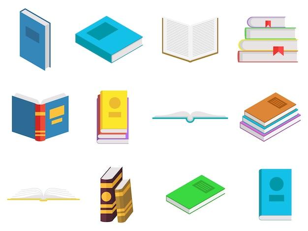 Gekleurde geplaatste boekenpictogrammen. boeken in een stapel, open, in een groep, gesloten. lezen, leren en onderwijs