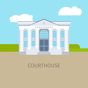 Gekleurde gerechtsgebouw de bouwillustratie