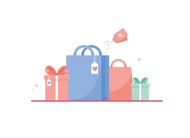Gekleurde geschenkdozen met lint of strik naast boodschappentas voor verjaardag, kerstmis of nieuwjaar. roze, blauw en groen