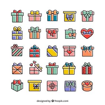 Gekleurde geschenken pictogrammen