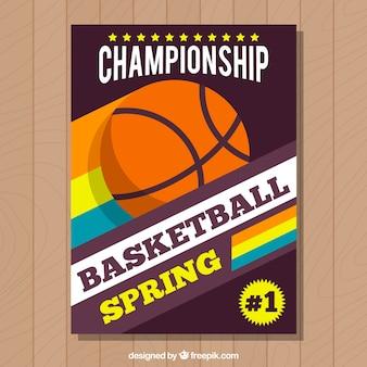 Gekleurde gestreepte basketbal brochure