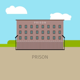 Gekleurde gevangenis gebouw illustratie